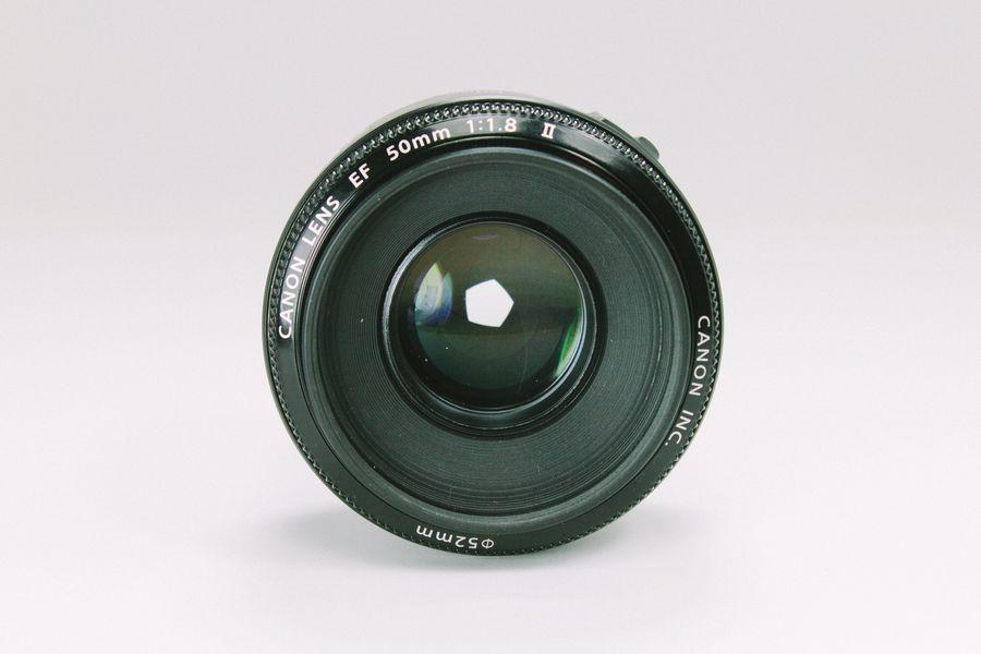 Closeup of a Canon lens