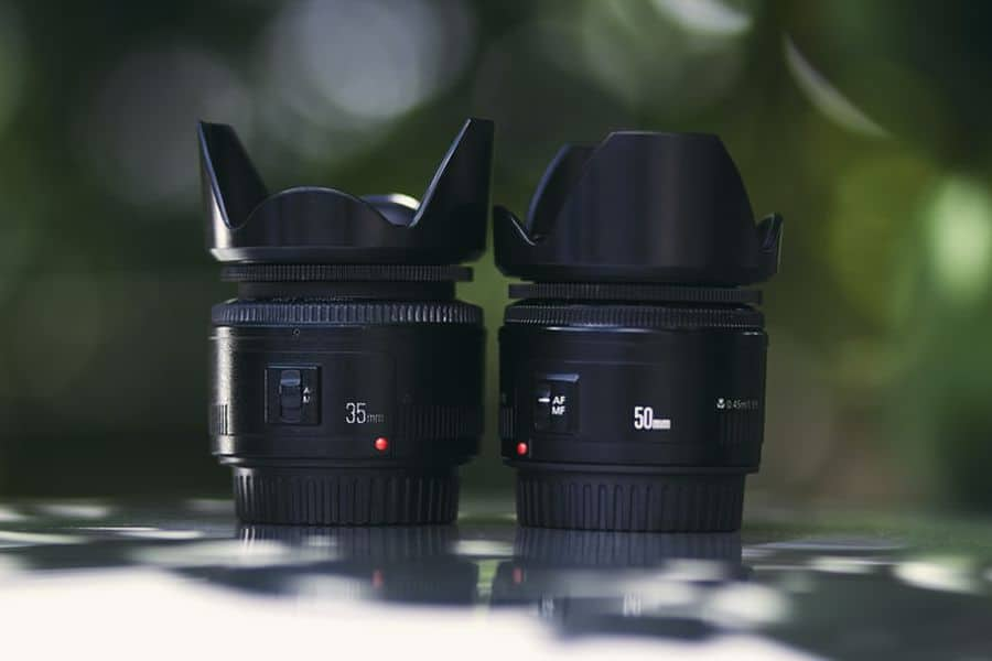 35mm and 50mm camera lens