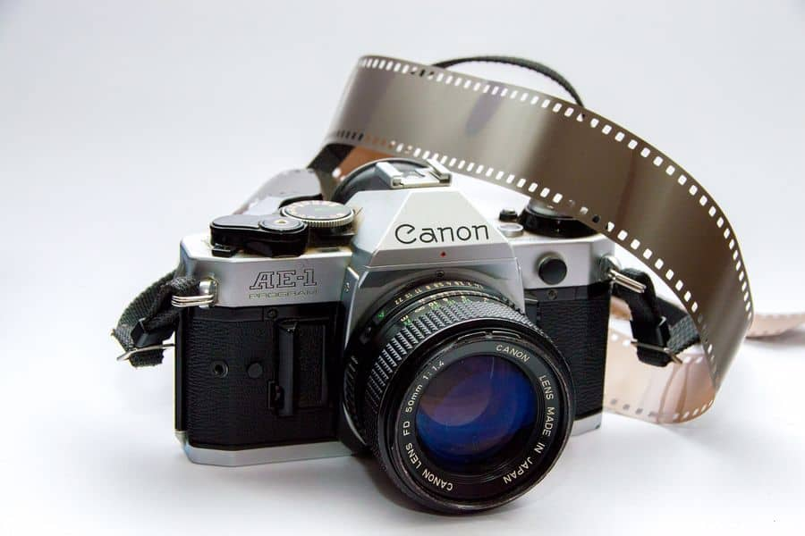 SLR camera with film roll