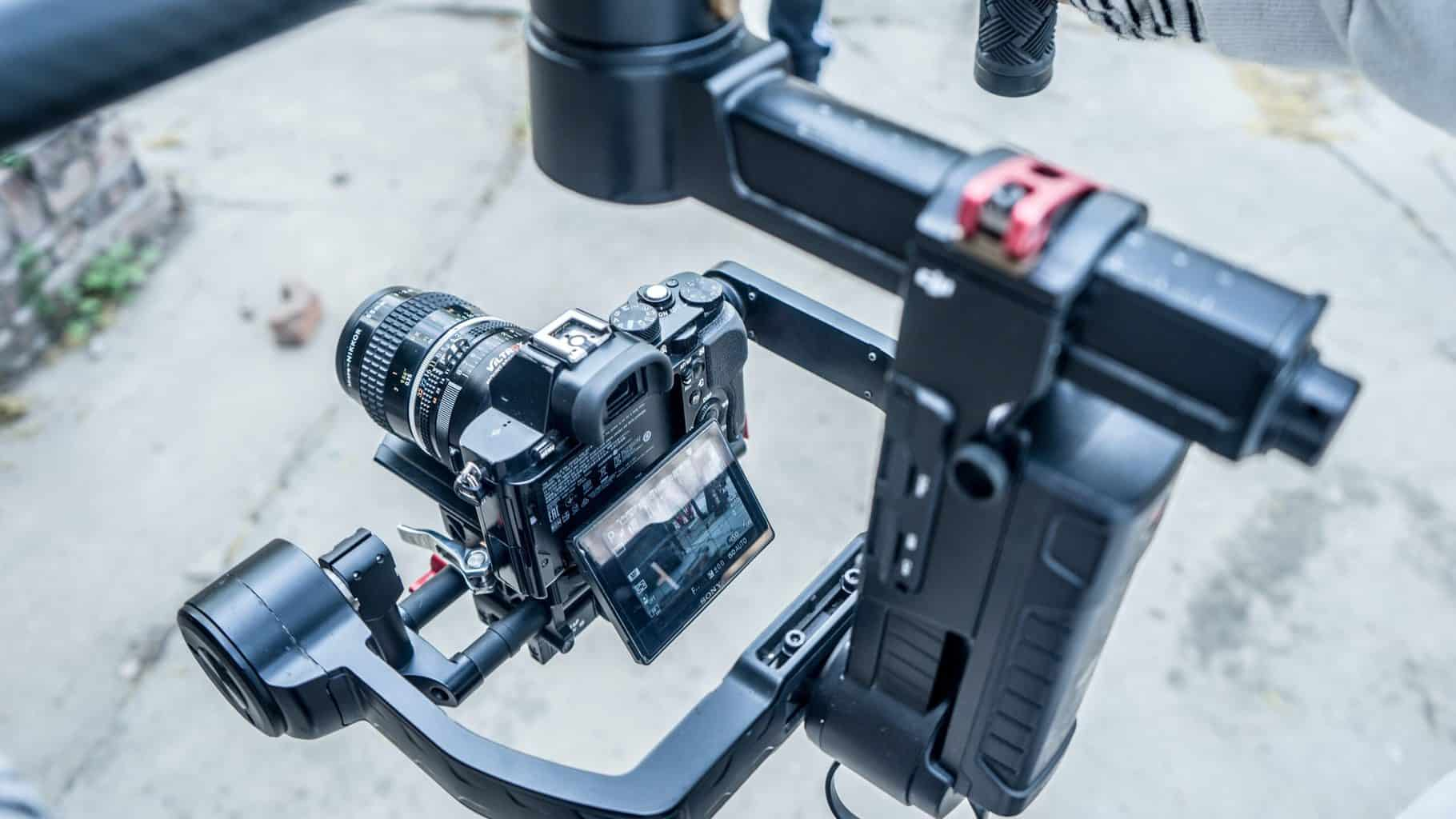 A close up shot of camera stabilizer being used