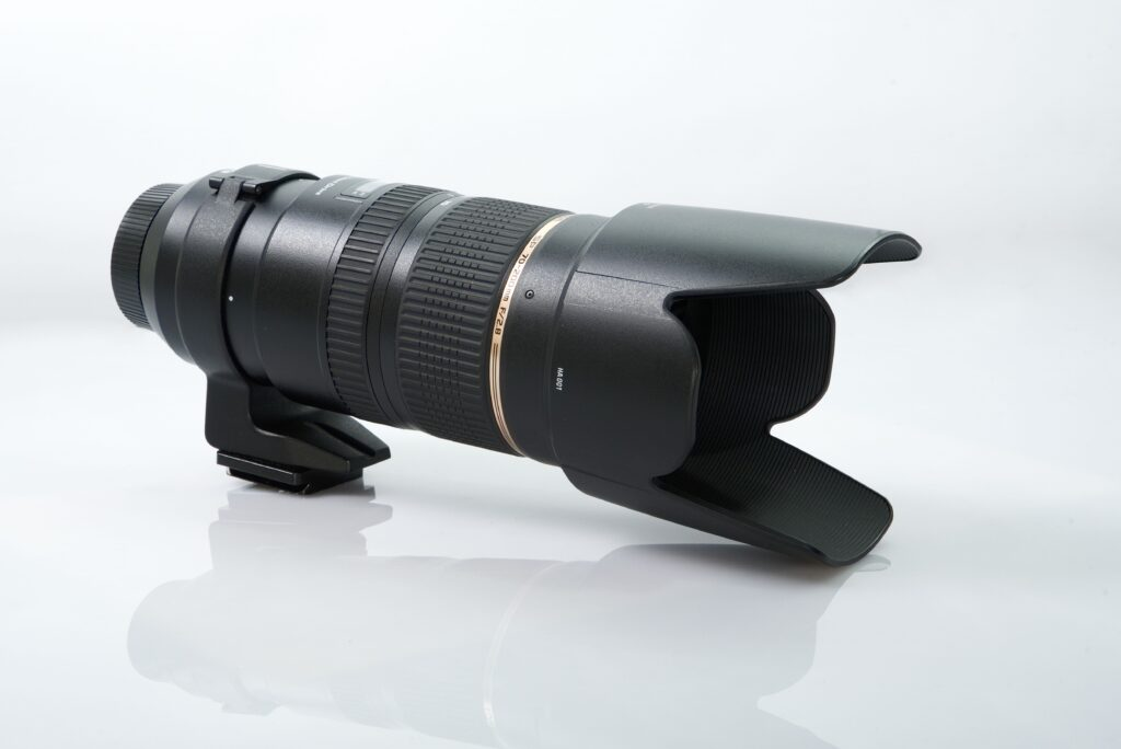A 70-200mm lens on display