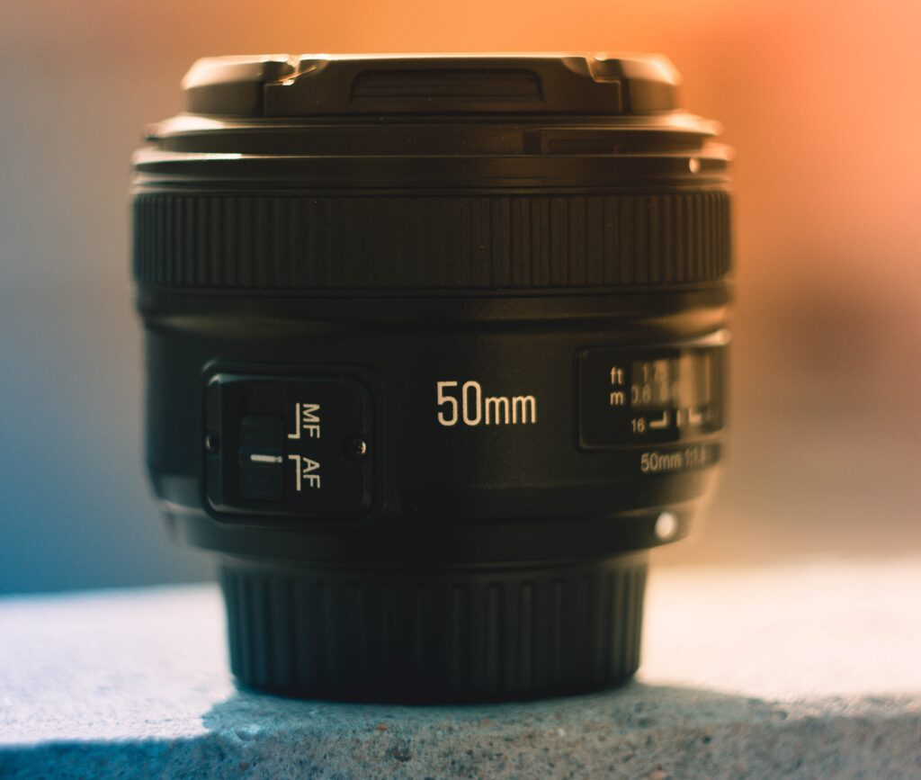 A 50mm camera lens on display