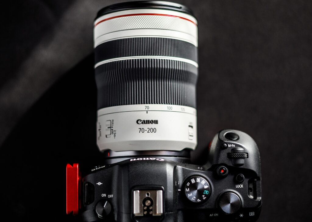 A top view of a 70-200mm lens attached to the camera