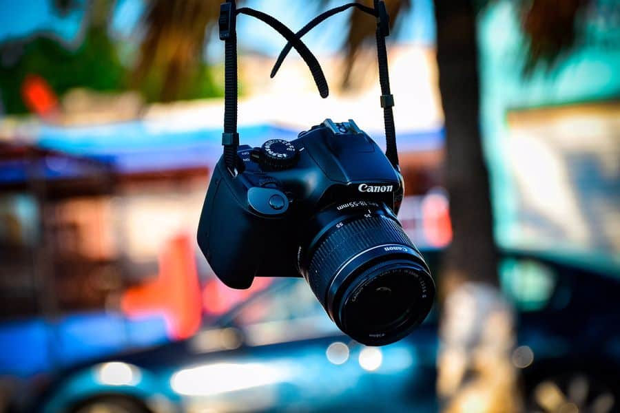 Canon camera with an 18-55mm lens