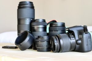 Canon DSLR with various types of lenses