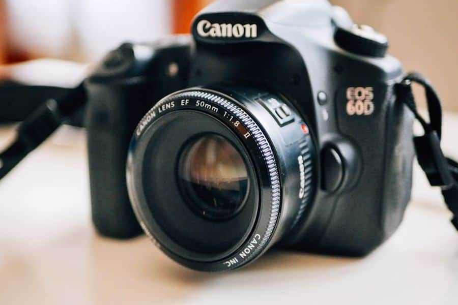 Canon 60D with a 50mm lens