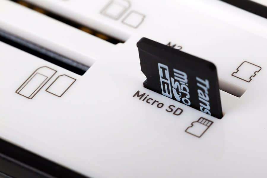 Micro SDHC card that is plugged in a slot