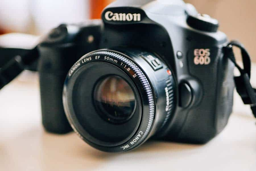 A camera with a Canon 50mm lens