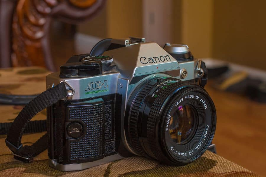 Vintage Canon camera with 50mm lens