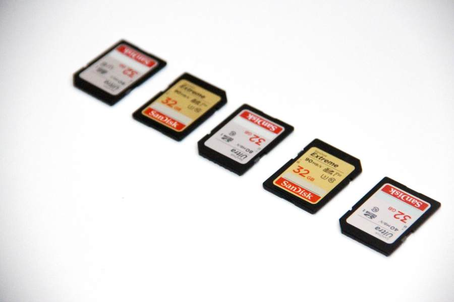SDXC and SDHC memory cards on a white surface