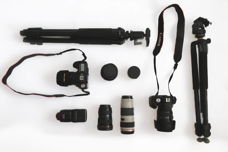 A flat lay shot of photography equipment